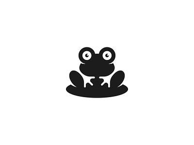 Frog Logo animal logo minimal symbol mark identity lily pad negative space frog logo