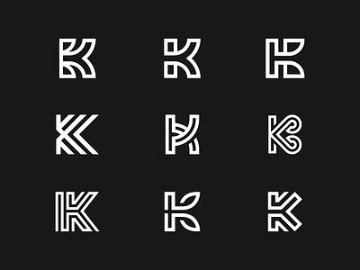 K Monogram Explorations alphabet logo icon identity logo letter k monogram