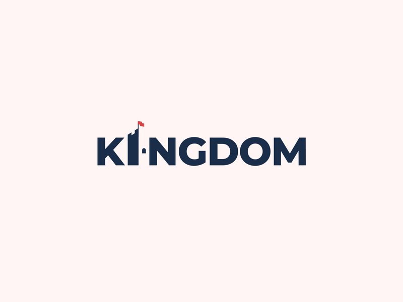 Kingdom Wordmark Logo rule royal king word mark clever minimal typography negative space clever logo flag fort kingdom identity wordmark logo