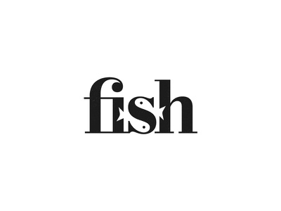 Fish Wordmark logomark symbol mark clever negative space typography typeface identity clever logo fish wordmark logo