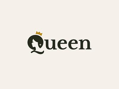 Queen Wordmark female girl woman star luxury crown royal queen logotype clever logo logo design wordmark logo