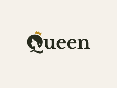 Queen Wordmark female girl woman star luxury crown royal queen logotype clever logo logo design wordmark logo