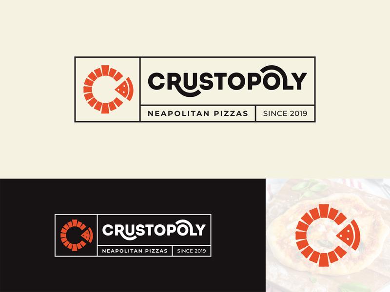 Crustopoly Logo oven neapolitan logodesign logotype typeface typography c logo fire wood food pizza identity branding logo