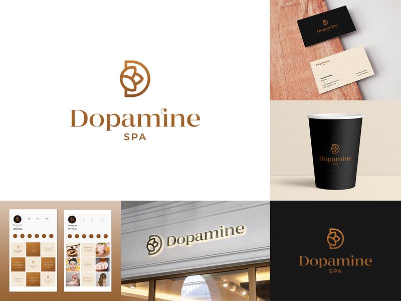Dopamine Spa Branding design typography beauty identity logomark mark earthy d logo luxury nature flower spa logotype logodesign branding logo