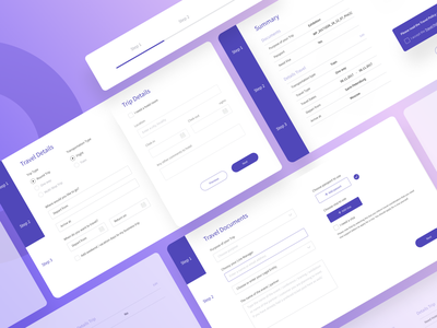 Travel Business Form design ui kit mobile purple form minimalism travel ui  ux design ui ux ui  ux webdesign