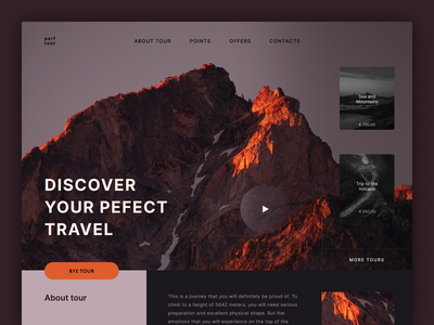 Promo page Travel tour to Mountains ui  ux design travel landing minimalism webdesign design mountains dark cover ux ui