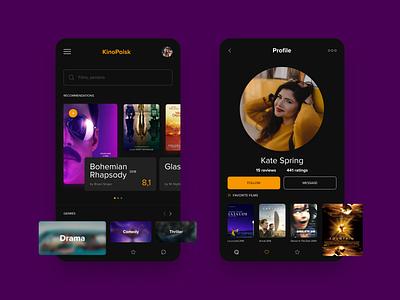 Concept mobile app for KinoPoisk dark webdesign ui movie app mobile app ux ui design ux movie film