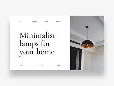 Lamp store webdesign lamp white minimalism ux ui  ux design ui shop store cover