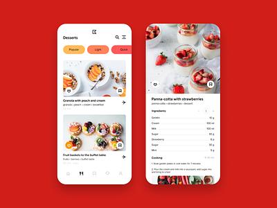 Dessert app dessert recipe design ui ux ux ui mobile app app