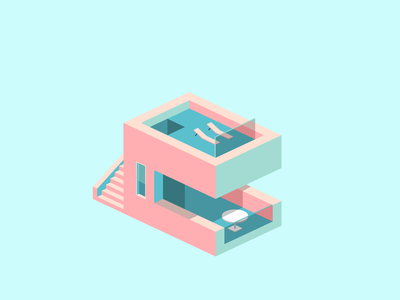 Blue pink house illustration house isometry
