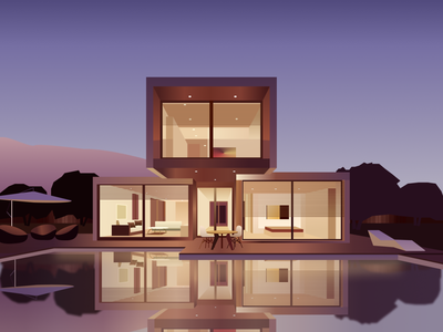 Pool house illustration architecture interior cover design graphic design vector house pool illustration