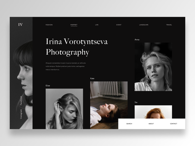Photographer site dark photographer photo minimalism landing cover ux ui ui  ux design webdesign
