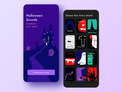 Halloween Sounds app ui  ux design game design game dark design illustration mobile app ui  ux ui ux halloween