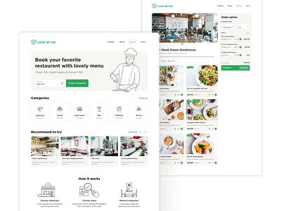 Cookatme order food app service chef cook food restaurant delivery website web ux ui