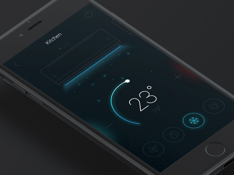 Air–conditioning setting dark ux ui system simple mode line illustration daily ui app air-condition