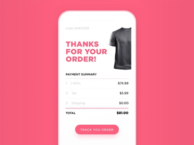 Email Receipt button order card color pink daily ui dialog illustration ios ui  ux 017