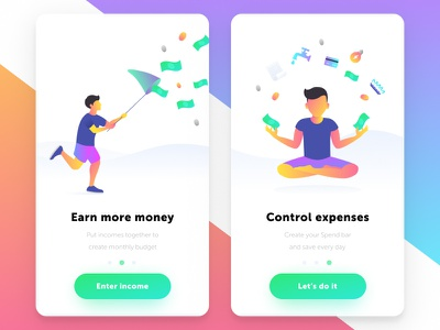 Onboarding ux ui slider pager money illustrations character card action daily ui