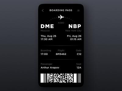 Boarding Pass dark app boarding airplane plane pass design ios illustration button card daily ui ui