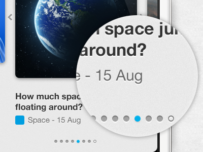 Pagination - Daily facts iPhone app pagination dots carousel iphone ios ui