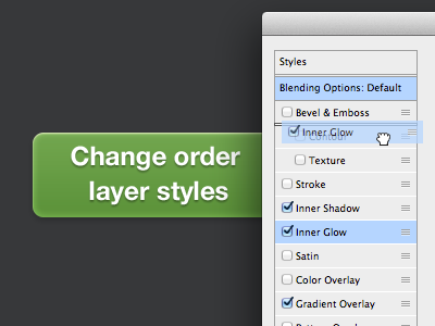 Change order layer styles