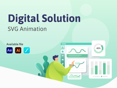 Digital Solution - SVG Animation animated animated gif after effect design vector illustration motion lottie lottiefiles animation design gradient svg app ui dashboard digital animation