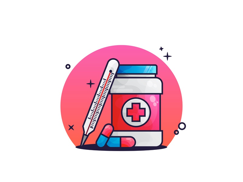 💊💊 thermometer medical capsules medicine illustration flat design animate first shoot design icon