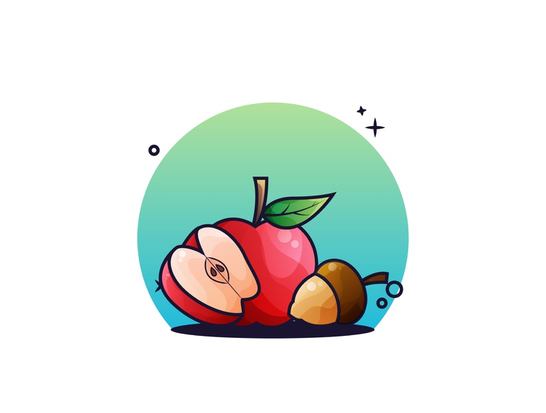 Apple Fruits and Acorn Illustration 🍎🍎