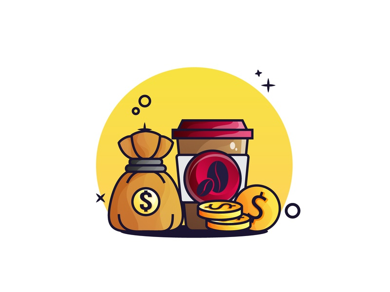 Money and Coffee Illustration
