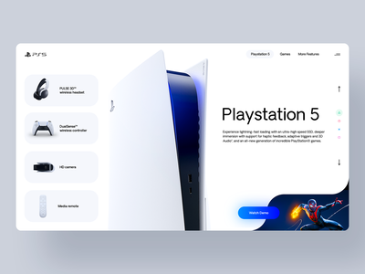 PS5 product design product spiderman twitch gaming video games sony playstation playstation 5 ps5 ui logo illustration blue white web design branding webdesign minimal design