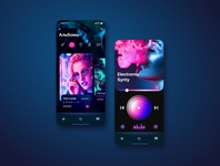 Neo-Noir style mobile player interface concept