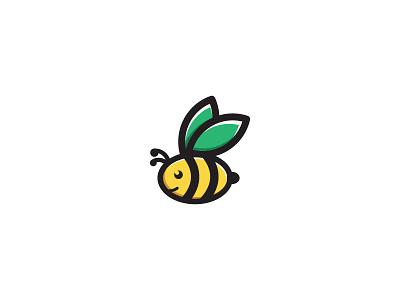 Flying Cute Bee animal honey creative design cartoon vector cute icon illustration logo bee
