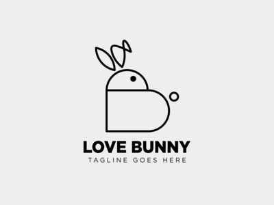 Bunny / rabbit Love Care Line Logo design inspiration