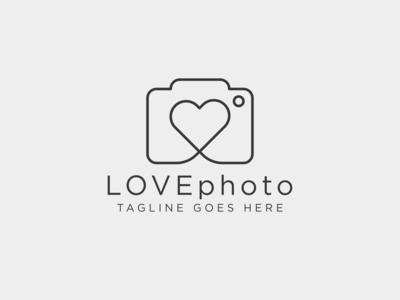 love photography line logo simple