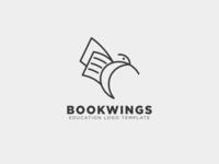 Book education Wings Bird Line Logo