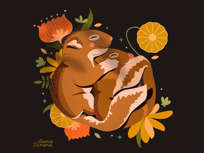 Warm fuzzy feeling warm tones cute animals illustration