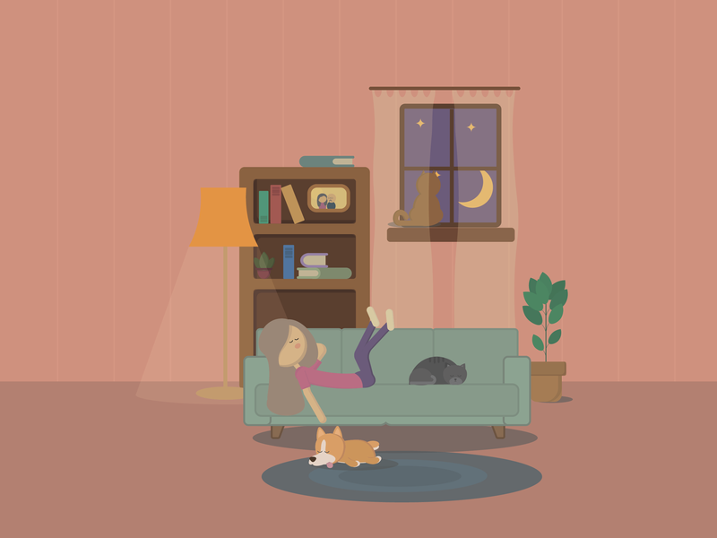 Terrific Cozy Home By Oxana Iakovleva On Dribbble Interior Design Ideas Gresisoteloinfo