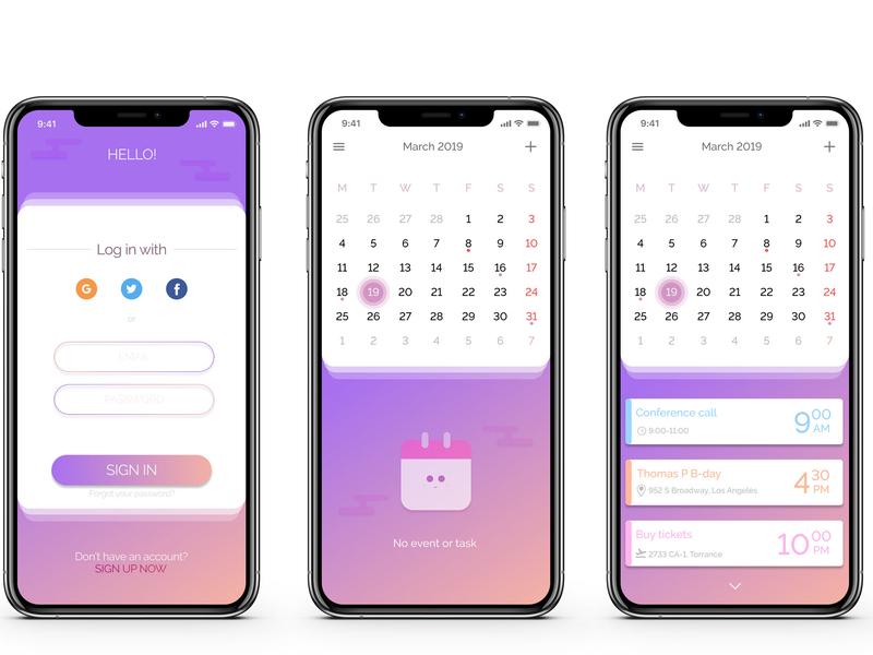 UI Calendar App interface calendar 2019 calendar design interface design app design figma design ui ui  ux ui interface