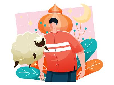 Eid Al Adha With Sheep sacrifice character sheep islam muslim eid mubarak al-adha eid
