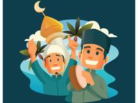 Two Moslem Man Celebrating Al Isra Wal Mi'raj