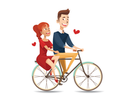 Young Couple Ride Bicycle