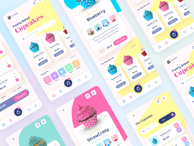 Cupcakes - Mobile UI design Concept #Figma uimobile iphone app mobileappdesign mobileapp mobile uxdesign ux userinterfacedesign cupcakes cupcake figmadesign uidesign user interface ui figma