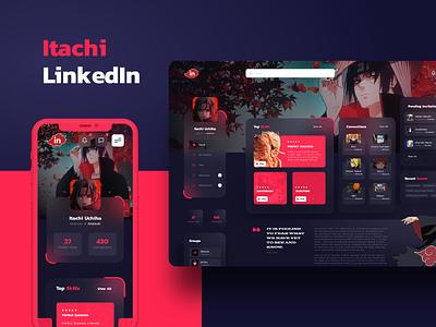 Itachi Linkedin - UI Concept uidesign ux uiux ui webdesign website naruto akatsuki red dashboard dark mode user interface design user interface ui design