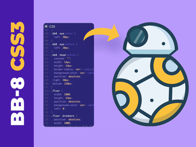 BB-8 - CSS3 only starwars illustration motion design animation ui user interface ui design html css coding codepen code front-end bb8 css3