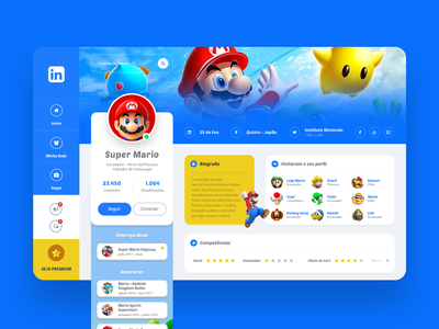 Linkedin - Super Mario Concept nintendo linkedin mario wireframe websitedesign webdesigner webdesign uxdesigner uxdesign ux userinterface userexperience uidesigner uidesign ui photoshop ideas dribbble designer design