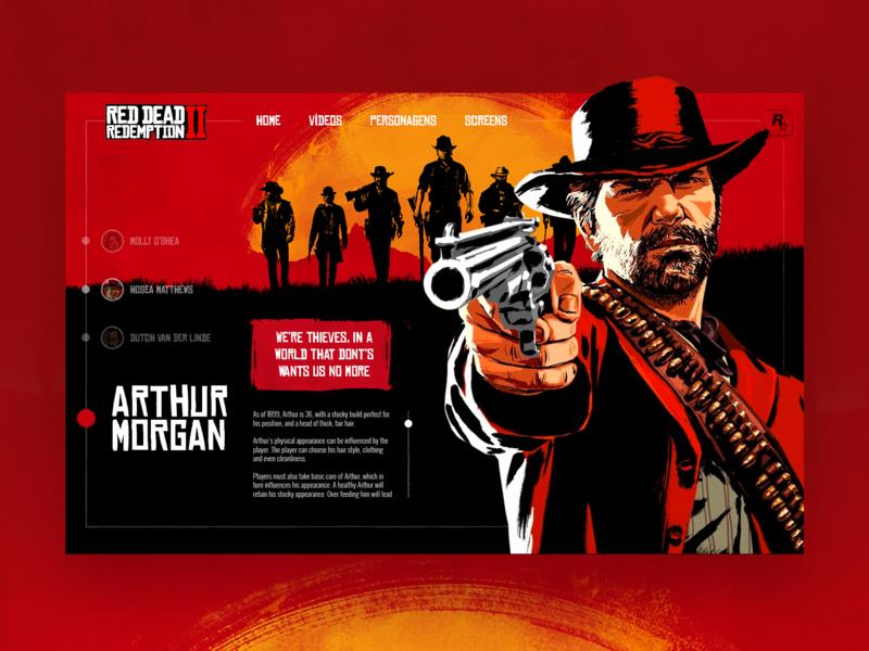 Red Dead Redemption - UI Concept rockstar red dead redemption wireframe websitedesign webdesigner webdesign uxdesigner uxdesign ux userinterface userexperience uidesigner uidesign ui photoshop ideas dribbble designer design uiuxdesign