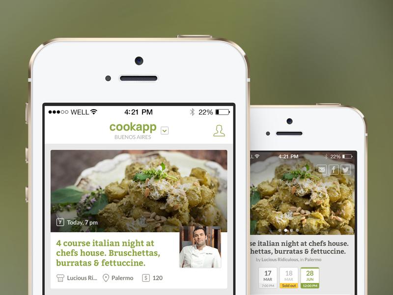 Cookapp - Iphone App cook app chef food foodie date mobile green