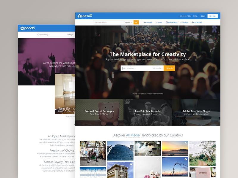 Redesigning Pond5.com stock homepage article portfolio case marketplace