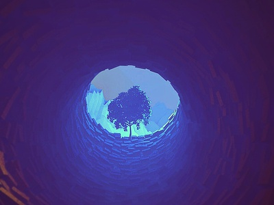 Eye mountains tree render polygons model poly lowpoly lights landscape cliff c4d 3d