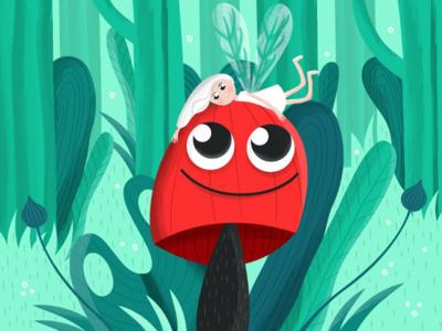Happy Mushroom girl forest fairy red mushroom green plants nature children illustration vector cartoon illustration