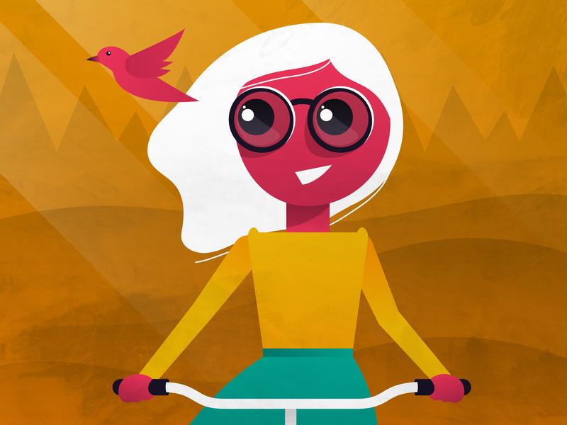Bike, girl coloful bird bike glasses design vector illustration